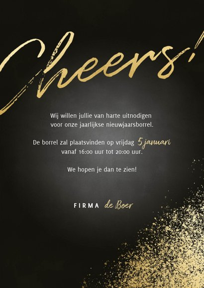 Uitnodiging nieuwjaarsborrel gouden spetters cheers & foto's 3