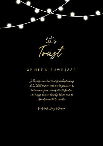 Uitnodiging nieuwjaarsborrel 'let's toast' en lampjes 3