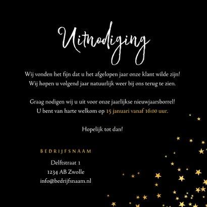 Uitnodiging nieuwjaarsborrel sterren goud confetti 3