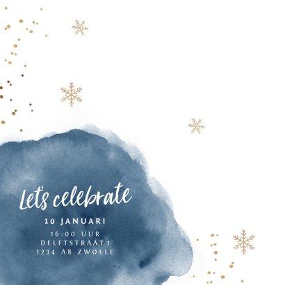 Uitnodiging nieuwjaarsborrel zakelijk goudlook watercolor 2