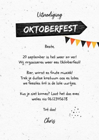 Uitnodiging oktoberfest wegwijzers slingers bier worst 3