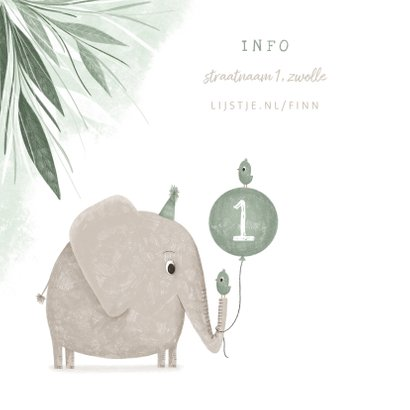 Uitnodiging olifant met vogeltjes en ballon jungle 1 jaar 2