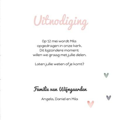 Uitnodiging opdraging roze wegwijzer en harten 3