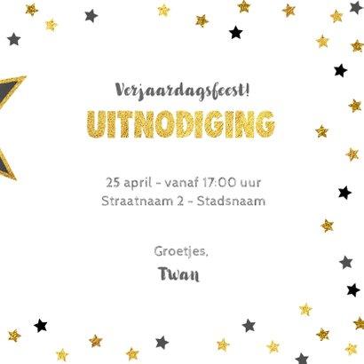 Uitnodiging Party-Time foto kaart krijtbord en sterren goud 3