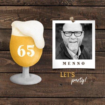 Uitnodiging pensioen bierglas met foto en leeftijd 2
