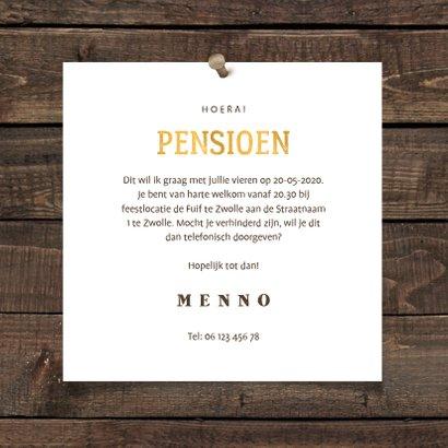 Uitnodiging pensioen bierglas met foto en leeftijd 3