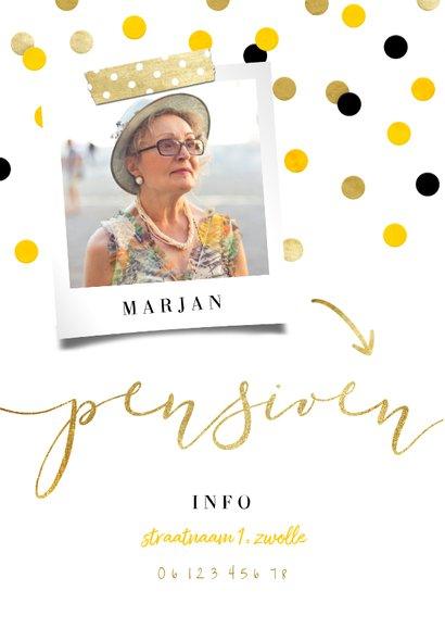 Uitnodiging pensioen goud met feestelijke confetti 2