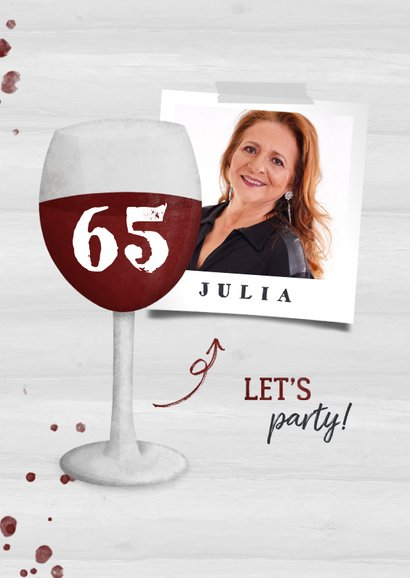 Uitnodiging pensioen wijnglas met foto en leeftijd 2