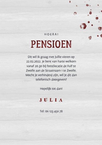 Uitnodiging pensioen wijnglas met foto en leeftijd 3