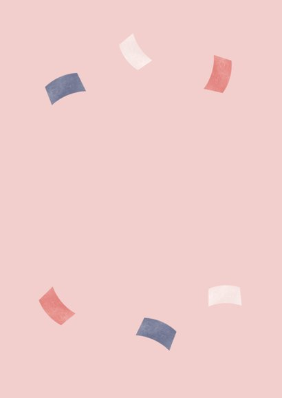 Uitnodiging pensioen X jaar in dienst roze confetti foto Achterkant