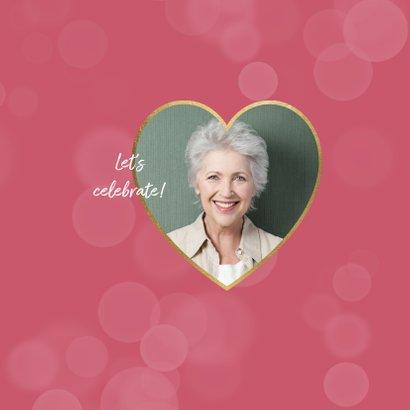Uitnodiging pensioenfeest roze bloemen foto hart 2