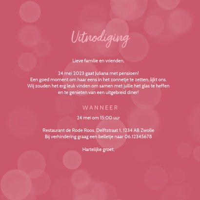 Uitnodiging pensioenfeest roze bloemen foto hart 3