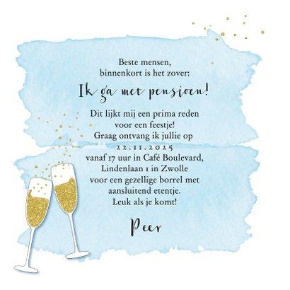 Uitnodiging pensioenfeestje champagne glazen 3