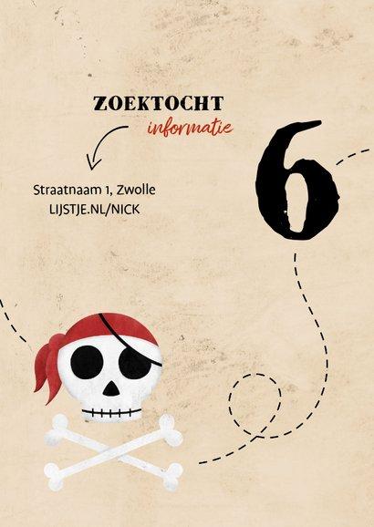 Uitnodiging piratenfeestje met foto en schedel 2