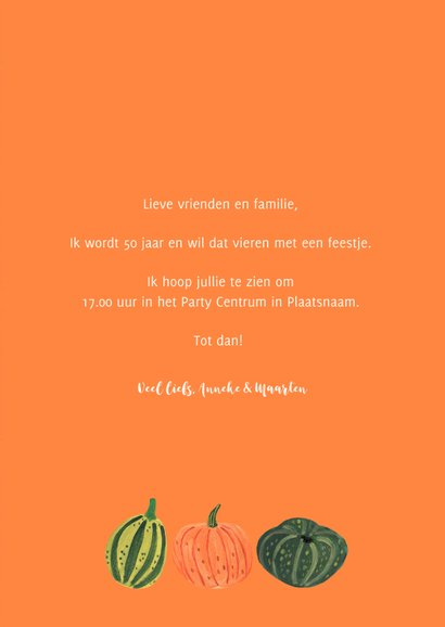 Uitnodiging pompoenen feest herfst Halloween 3