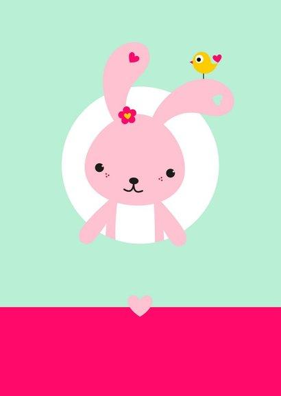 Uitnodiging - Roze konijntje in cirkel 2
