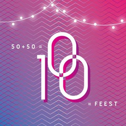 Uitnodiging samen 100 hip feest grafisch modern foto 2