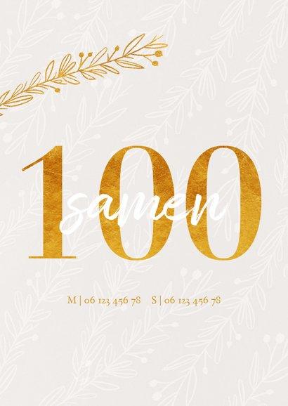 Uitnodiging samen 100 in goudlook en takjes 2