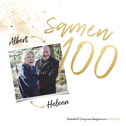 Uitnodiging 'samen 100' met spetters en foto 2