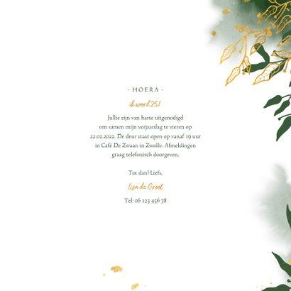 Uitnodiging stijlvol met gouden bladeren en waterverf 3
