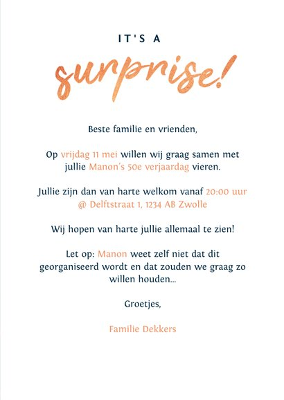 Uitnodiging surprise party met spetters en eigen foto! 3