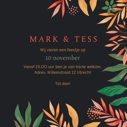 Uitnodiging takken en bladeren met stipjes 3