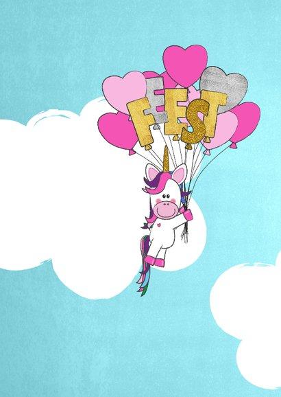 Uitnodiging trendy foto kaart met unicorn en ballonnen 2