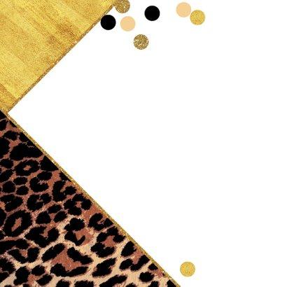 Uitnodiging trendy kaart met panterprint en confetti 2