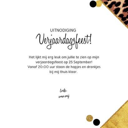 Uitnodiging trendy kaart met panterprint en confetti 3