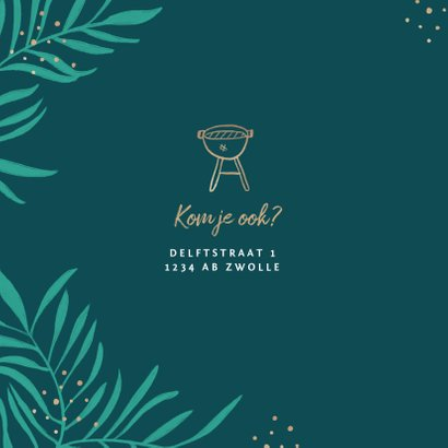 Uitnodiging tuinfeest bbq groen stijlvol goud 2