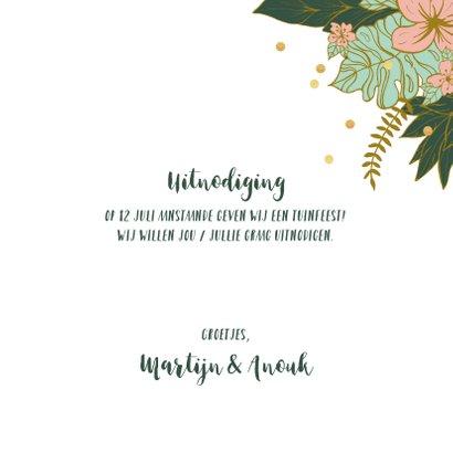 Uitnodiging tuinfeest bloemen confetti 3