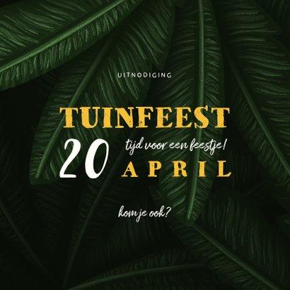 Uitnodiging tuinfeest jungle bladeren met lampjes 2
