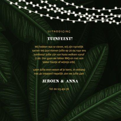 Uitnodiging tuinfeest jungle bladeren met lampjes 3