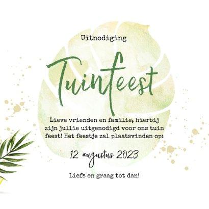 Uitnodiging tuinfeest met fruit en botanische bladeren 3