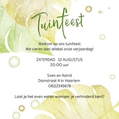 Uitnodiging tuinfeest met groene planten 3