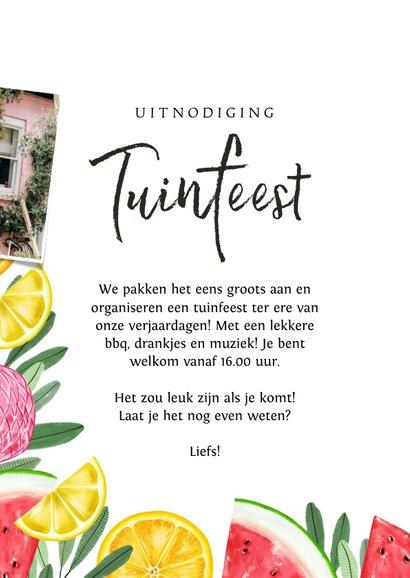 Uitnodiging tuinfeest met tropical elementen en flamingo 3