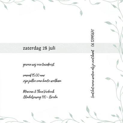 Uitnodiging tuinfeest, samen 100! eenvoudig, botanisch 3