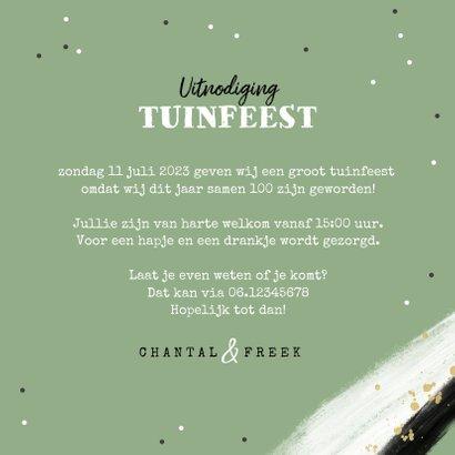 Uitnodiging tuinfeest samen 100 groen foto confetti 3