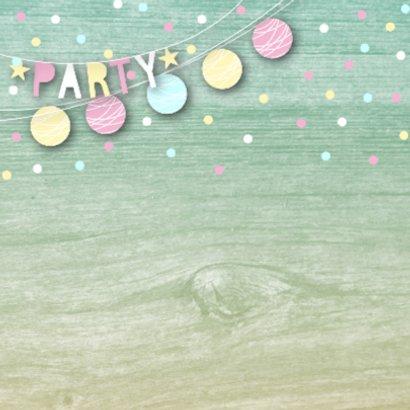 Uitnodiging tuinfeest slingers confetti foto 2