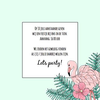 Uitnodiging tuinfeest tropical flamingo's 3