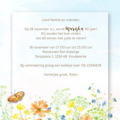Uitnodiging veldbloemen met vlinder 3