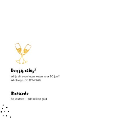 Uitnodiging verjaardag 30 jaar goud met slinger en champagne 2