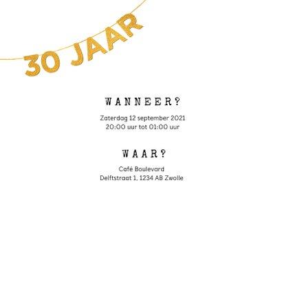 Uitnodiging verjaardag 30 jaar met foto en slinger 2