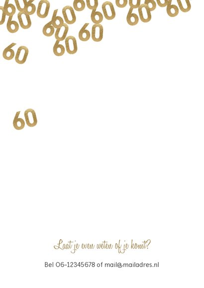 Uitnodiging verjaardag 60 jaar confetti met foto 2