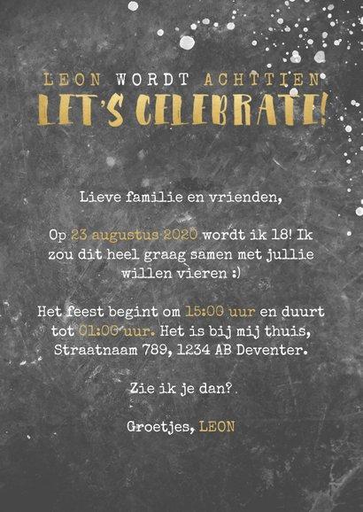 Uitnodiging verjaardag beton, foto, spetters en typografie 3