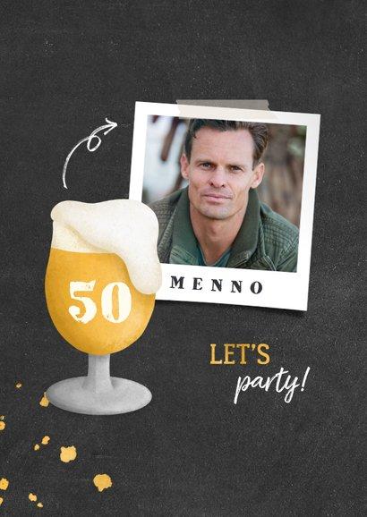 Uitnodiging verjaardag bierglas met foto en leeftijd 2