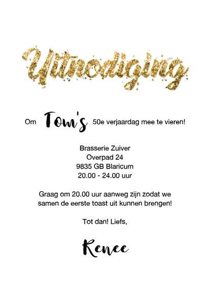 Uitnodiging verjaardag borrel confetti goud met eigen foto 3