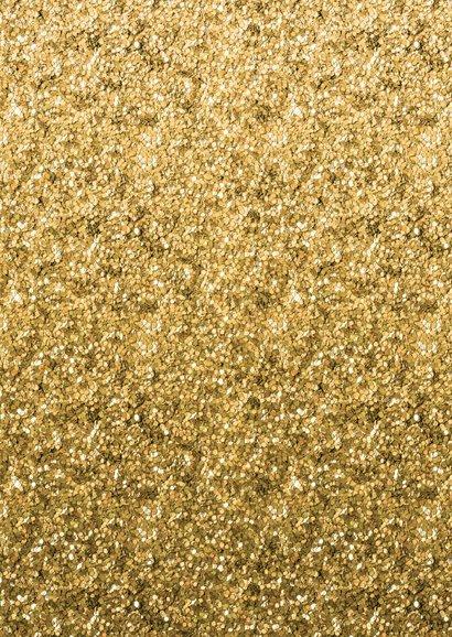Uitnodiging verjaardag borrel confetti goud met eigen foto Achterkant