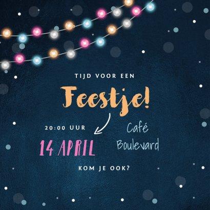 Uitnodiging verjaardag feestelijk lichtslinger confetti foto 2