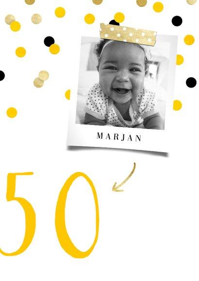 Uitnodiging verjaardag feestelijke confetti aanpasbaar 2